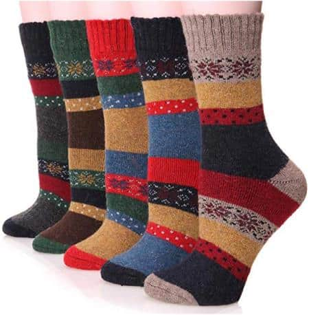 Ebmore Women's Winter Warm Crew Socks For Cold Weather 5 Pack