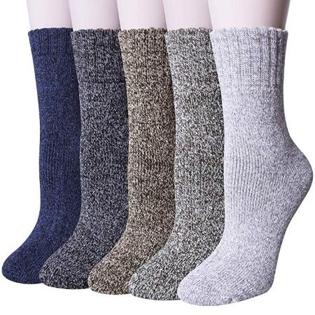 Loritta Women's 5 Pairs Vintage Style Winter Warm Thick Know Wool Cozy Crew Socks