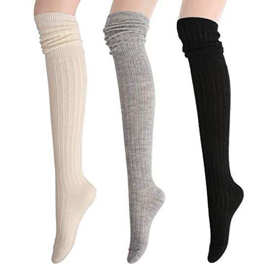 STYLEGAGA Winter Slouch Top over Knee High Knit Boot Socks
