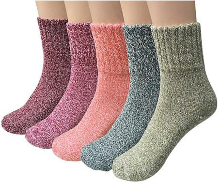 YSense 5 Pairs Women's Know Warm Casual Wool Crew Winter Socks