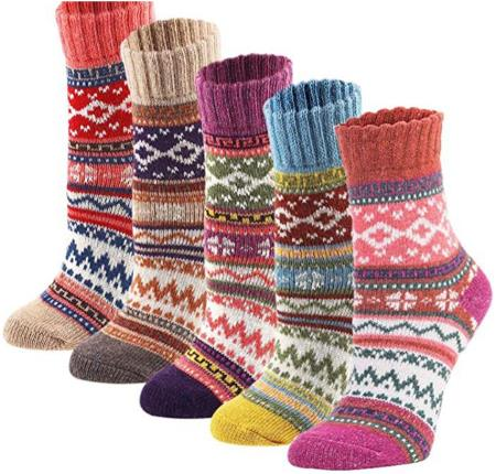 YZKKE 5 Pack Womens Vintage Winter Soft Warm Thick Cold Knit Wool Crew Socks